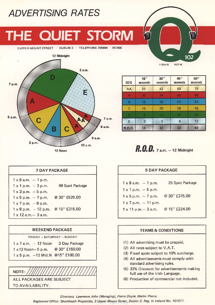 Q102 - EARLY RATECARD